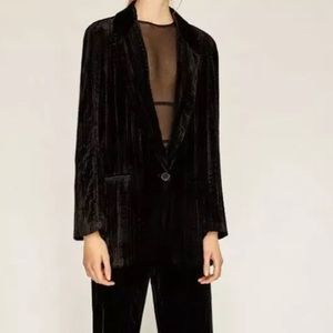 Zara Woman | Long Velvet Blazer | Size Large